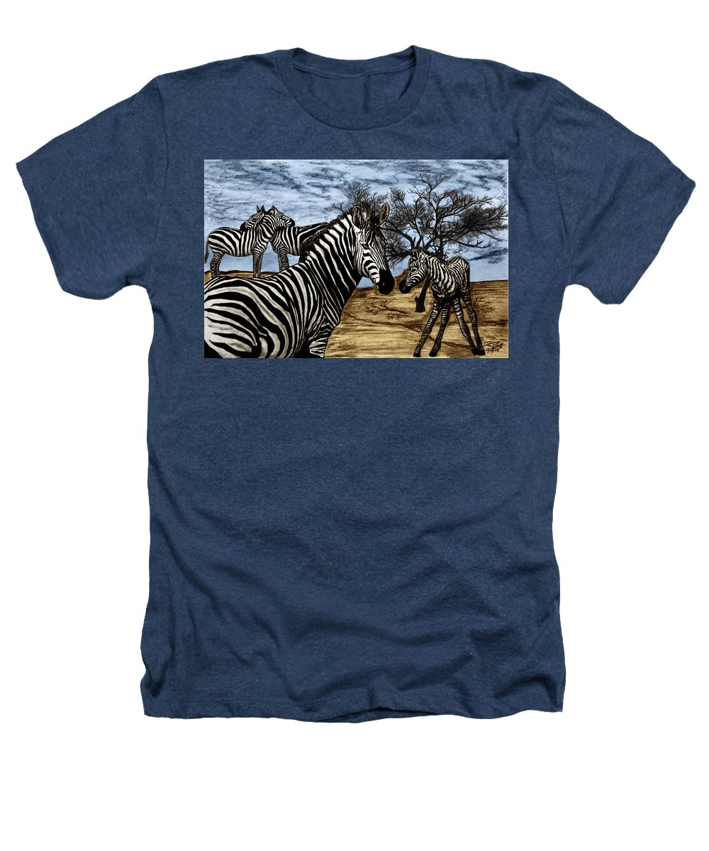 Zebra Outback Heathers T-Shirt featuring the drawing Zebra Outback by Peter Piatt