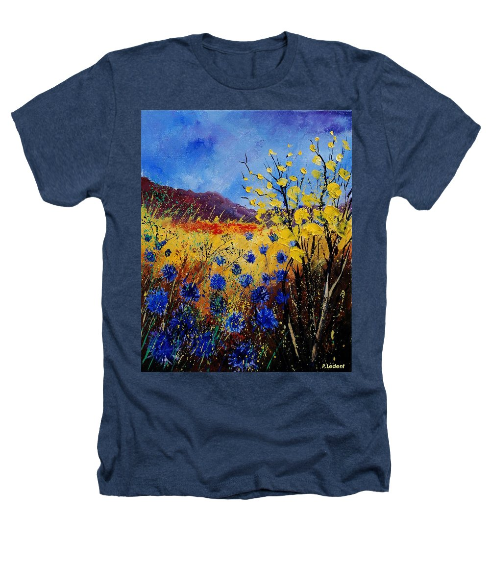 Poppies Flowers Floral Heathers T-Shirt featuring the painting Blue Cornflowers by Pol Ledent