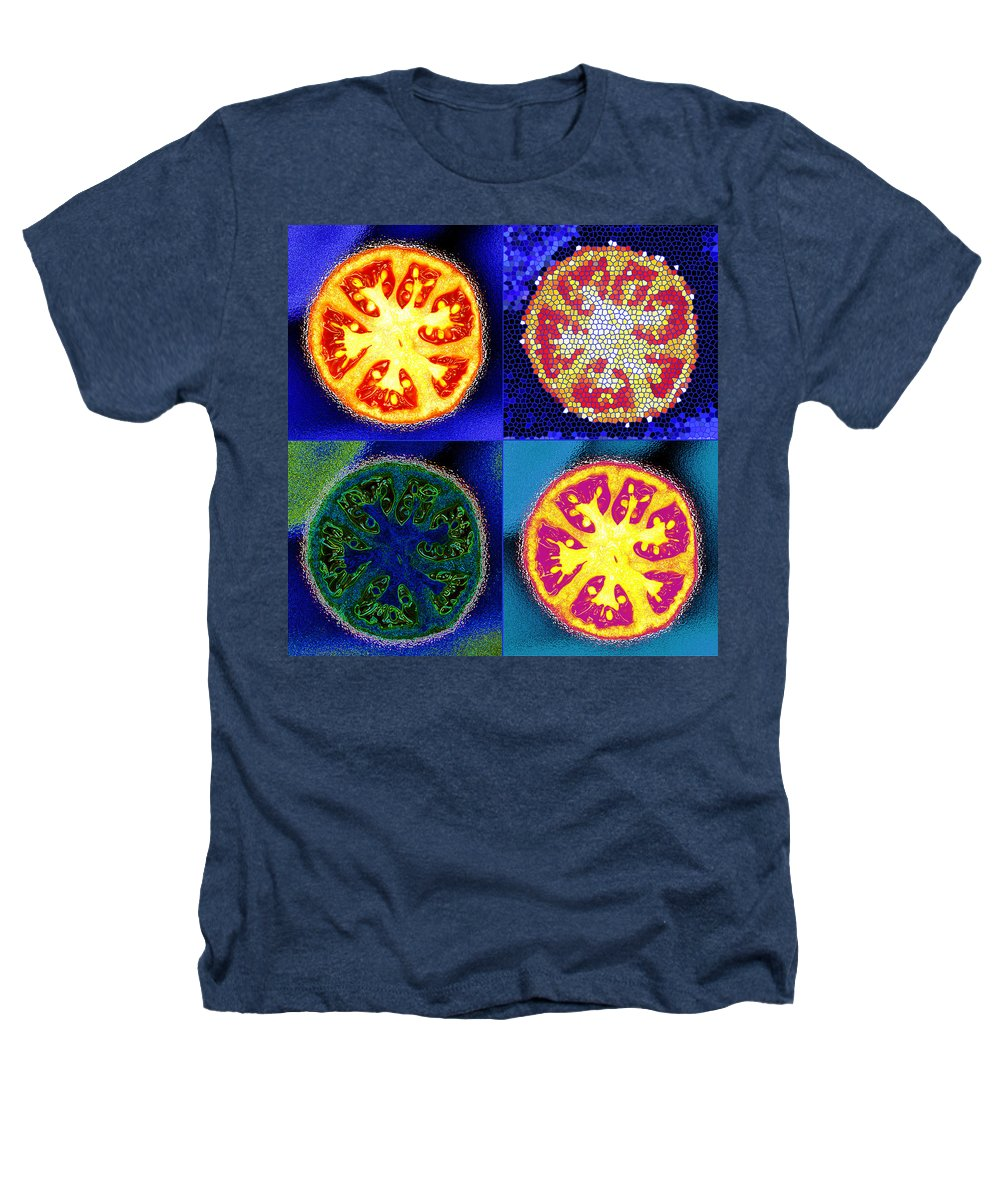 Tomatoes Heathers T-Shirt featuring the photograph 4 Abstract Tomatoes by Nancy Mueller
