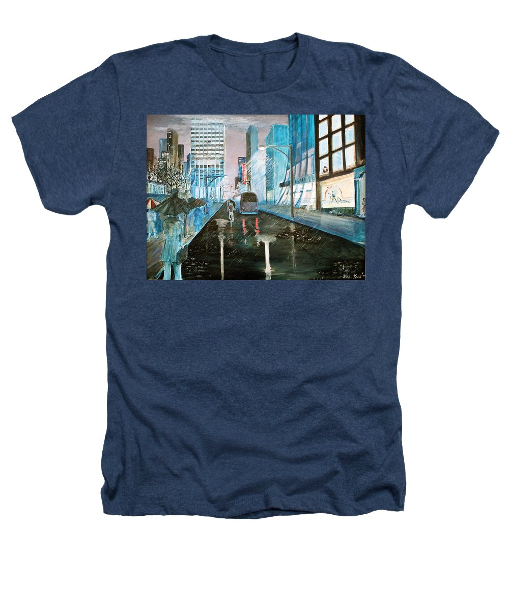 Street Scape Heathers T-Shirt featuring the painting 42nd Street Blue by Steve Karol