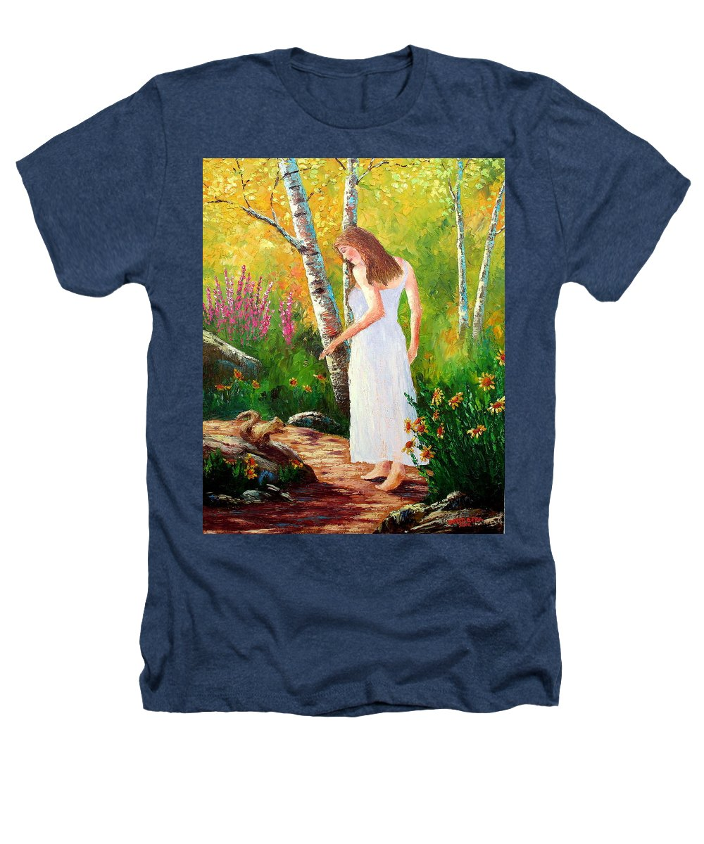 Landscape Heathers T-Shirt featuring the painting A Friendly Greeting by David G Paul