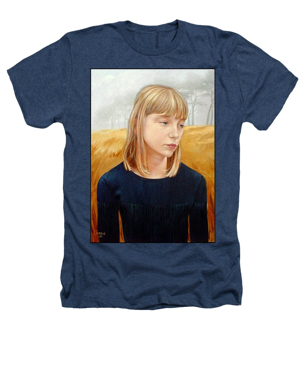 Girl Heathers T-Shirt featuring the painting A Gang Of Crows by Jerrold Carton