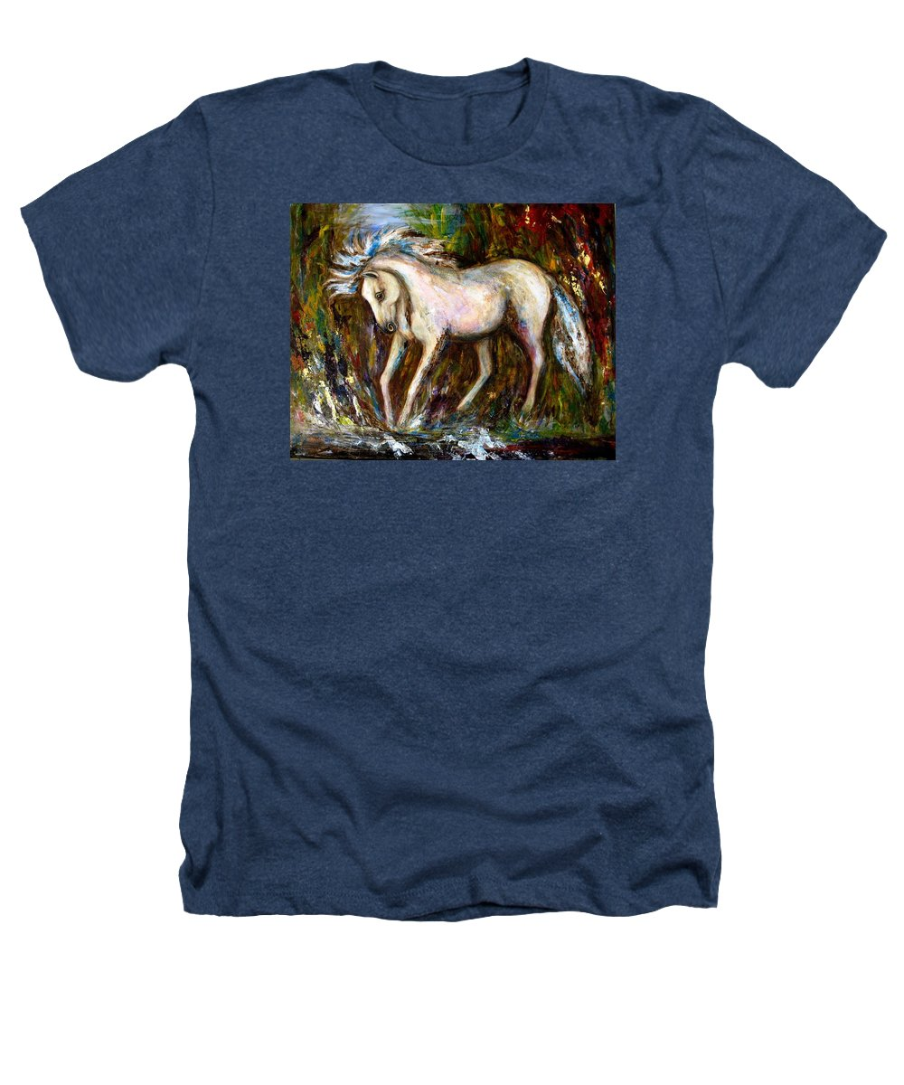 Horse Painting Heathers T-Shirt featuring the painting A Secret Place White Hores Painting by Frances Gillotti