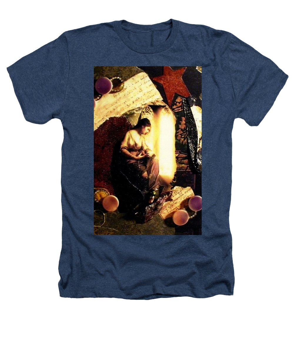 Mixed Media Heathers T-Shirt featuring the mixed media A Secret Place by Gail Kirtz