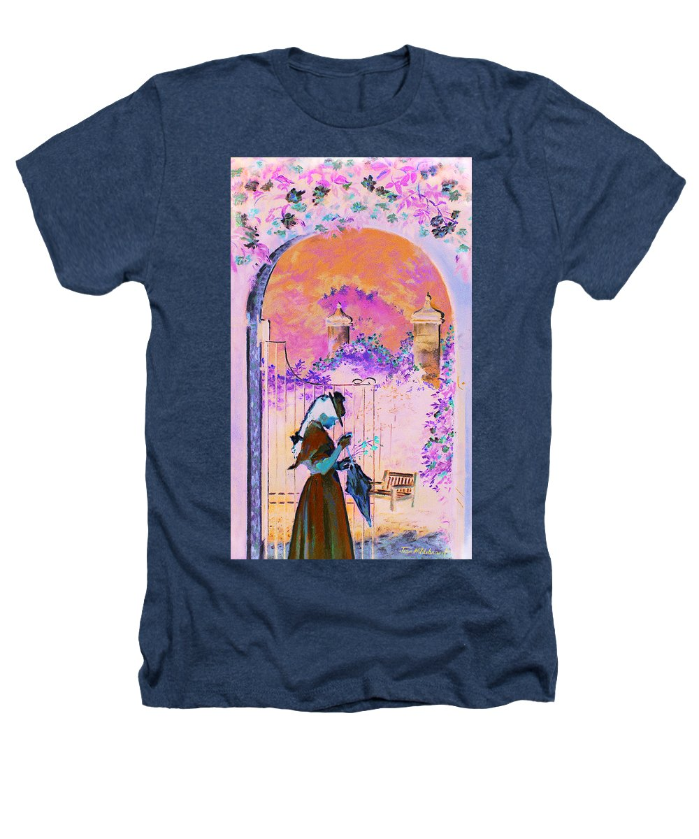 Rose Heathers T-Shirt featuring the painting Afternoon Stroll by Jean Hildebrant