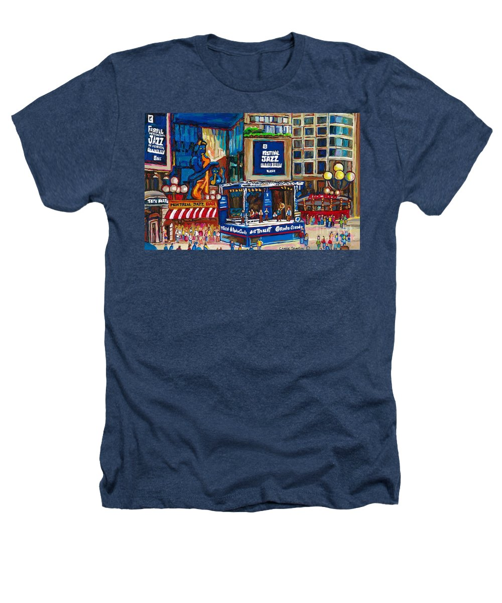 Montreal Heathers T-Shirt featuring the painting All That Jazz by Carole Spandau