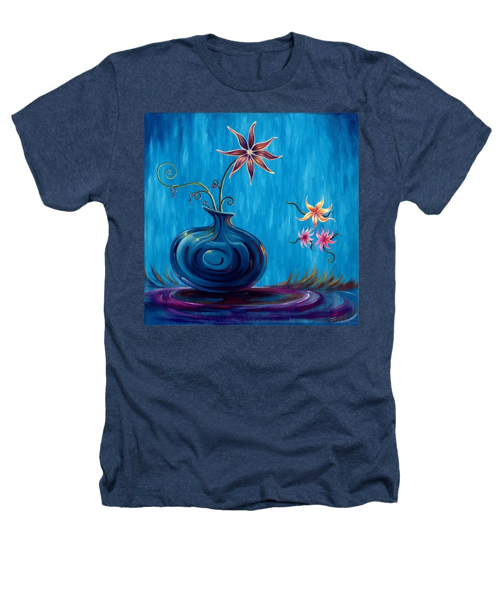 Fantasy Floral Scape Heathers T-Shirt featuring the painting Aloha Rain by Jennifer McDuffie
