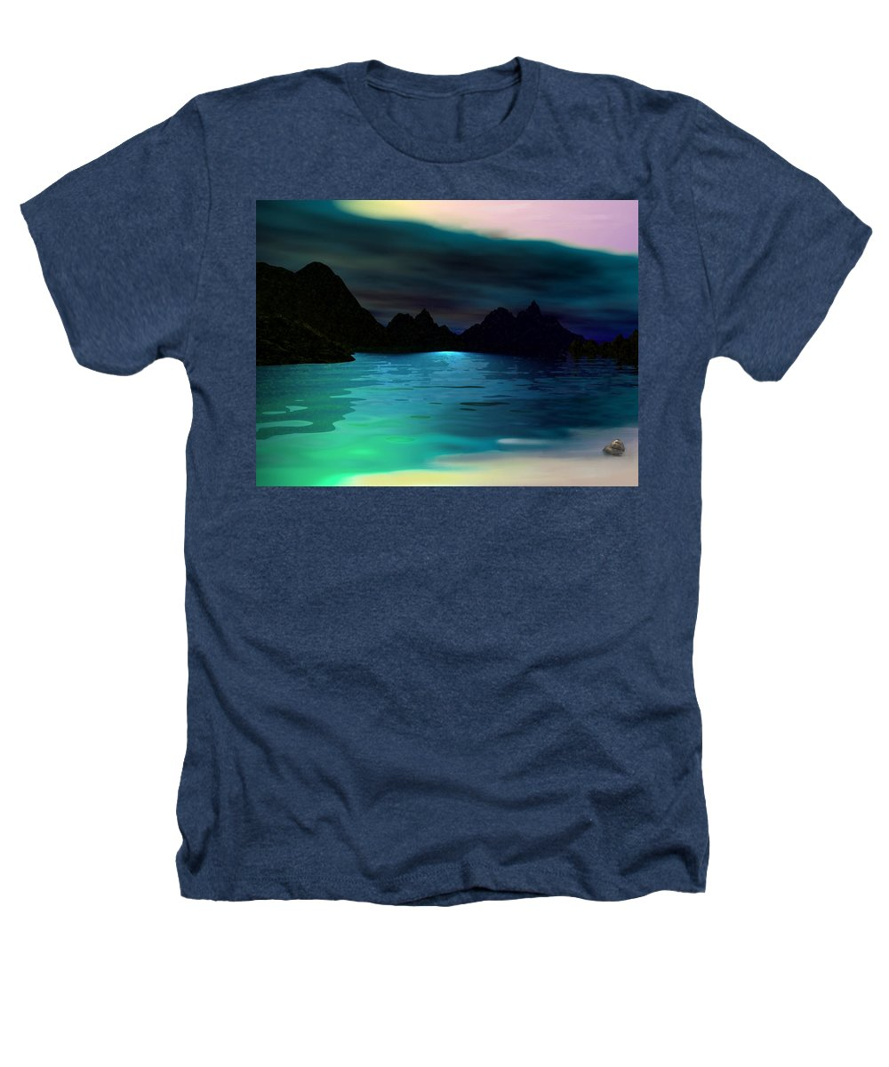 Seascape Heathers T-Shirt featuring the digital art Alone On The Beach by David Lane