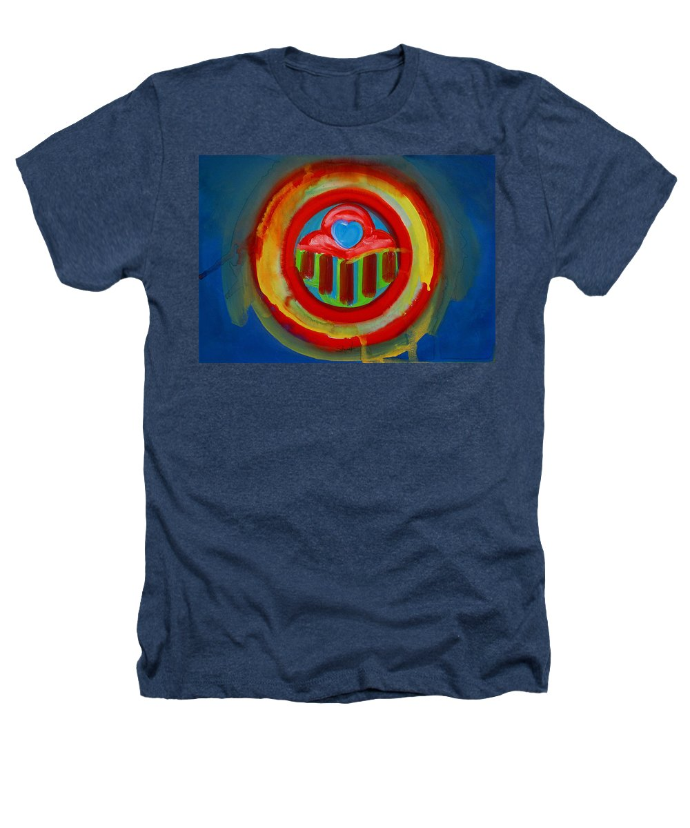 Button Heathers T-Shirt featuring the painting American Love Button by Charles Stuart