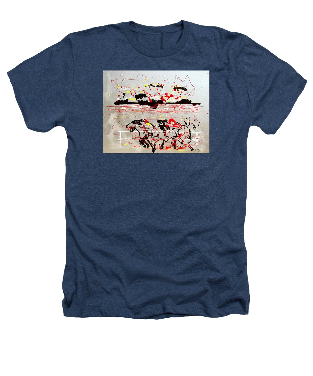 Abstract Heathers T-Shirt featuring the mixed media And Down The Stretch They Come by J R Seymour