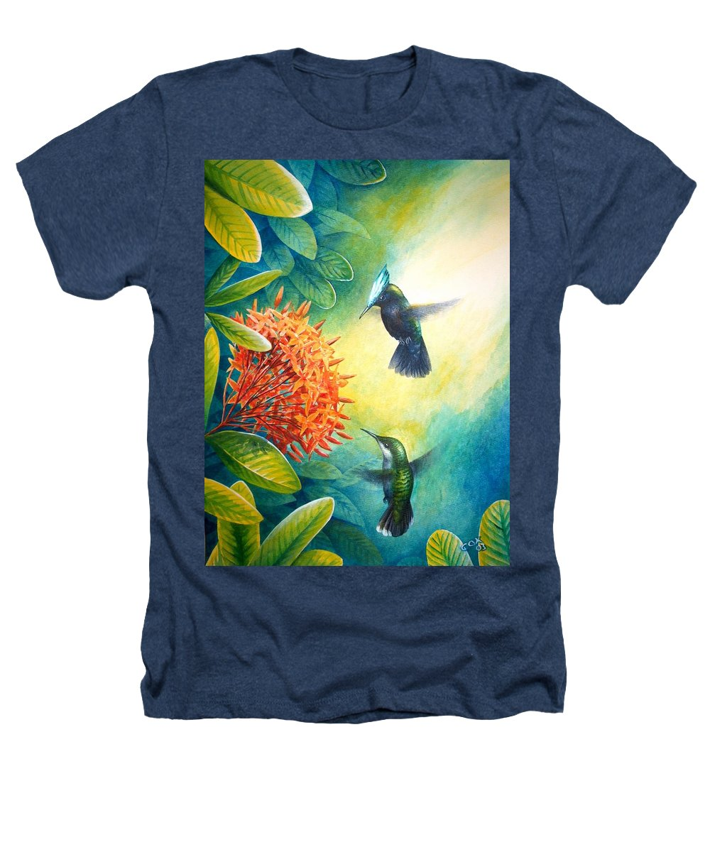 Chris Cox Heathers T-Shirt featuring the painting Antillean Crested Hummingbirds And Ixora by Christopher Cox