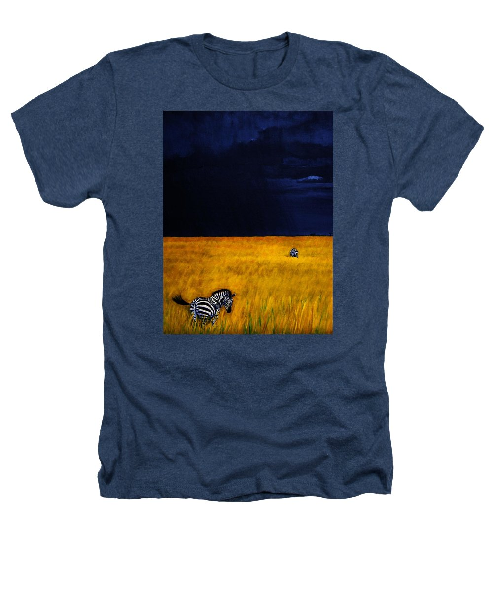 African Landscape Zebra Storm Clouds Edith Peterson Watson Scenery Nature Animals Wildlife Heathers T-Shirt featuring the painting Approaching Storm by Edith Peterson-Watson