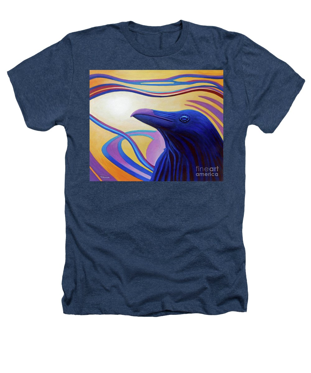 Raven Heathers T-Shirt featuring the painting Astral Raven by Brian Commerford