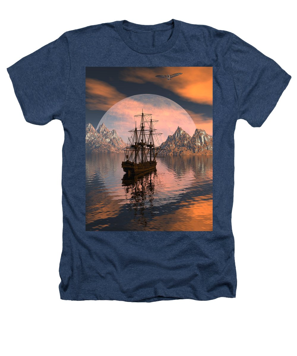 Bryce 3d Digital Fantasy Scifi Windjammer Sailing Heathers T-Shirt featuring the digital art At Anchor by Claude McCoy