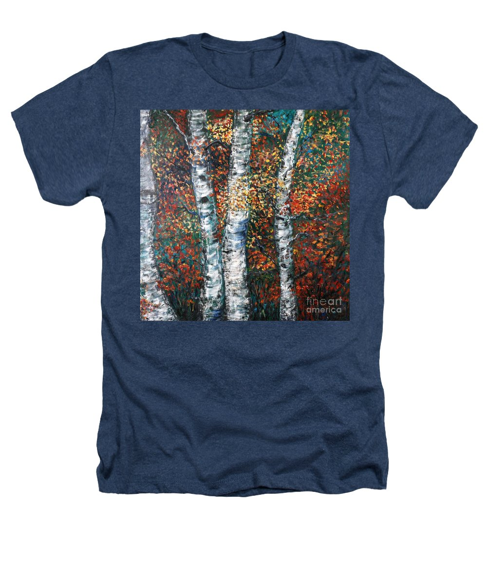 Birch Heathers T-Shirt featuring the painting Autumn Birch by Nadine Rippelmeyer