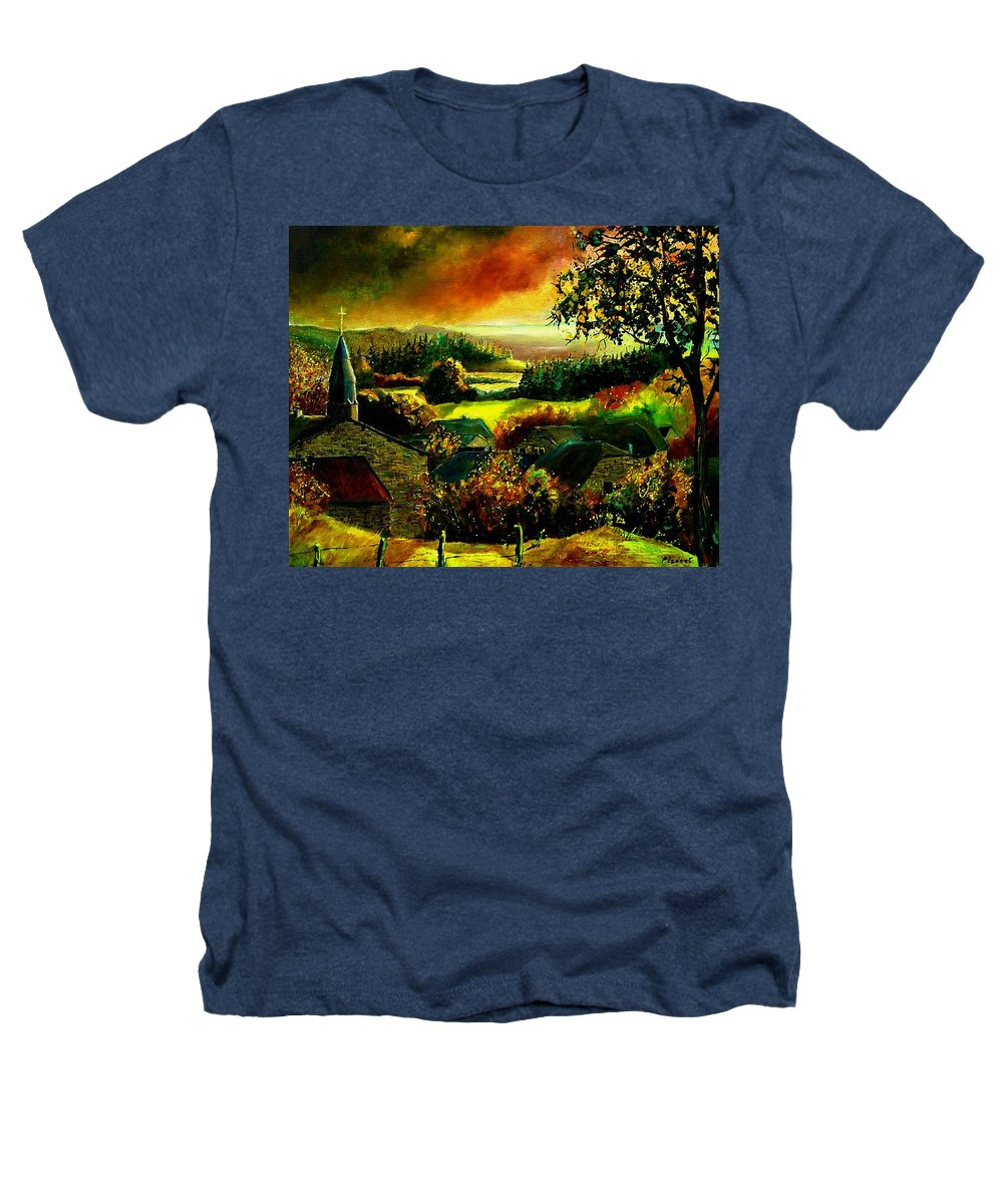 Landscape Heathers T-Shirt featuring the painting Autumn In Our Village Ardennes by Pol Ledent
