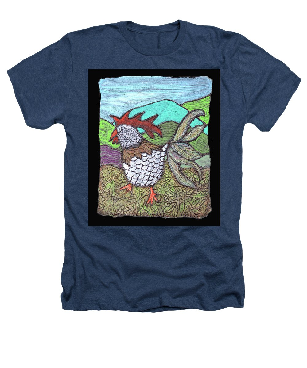 Chicken Heathers T-Shirt featuring the painting Autumn Strut by Wayne Potrafka