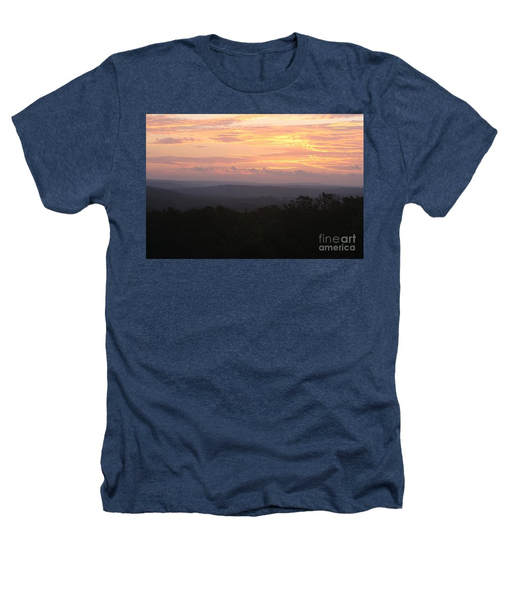 Sunrise Heathers T-Shirt featuring the photograph Autumn Sunrise Over The Ozarks by Nadine Rippelmeyer