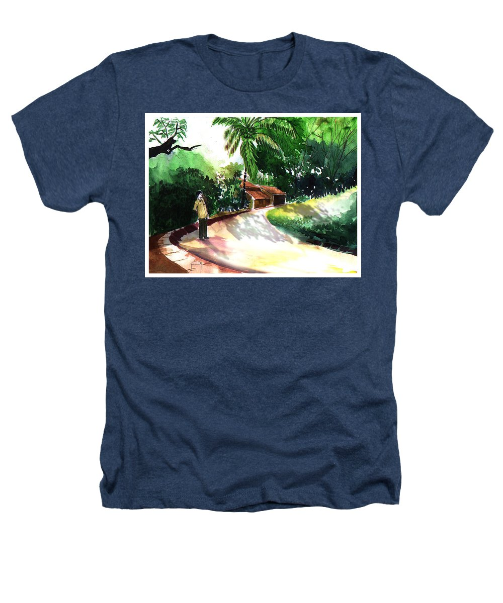 Water Color Watercolor Landscape Greenery Heathers T-Shirt featuring the painting Awe by Anil Nene