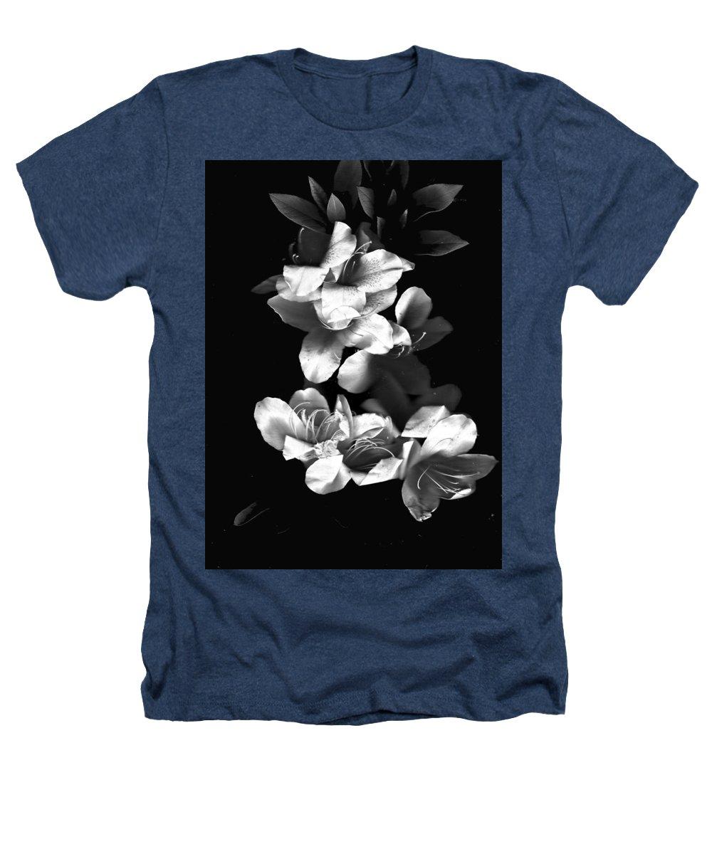Azaela Heathers T-Shirt featuring the photograph Azaela Blossom In Black And White by Wayne Potrafka