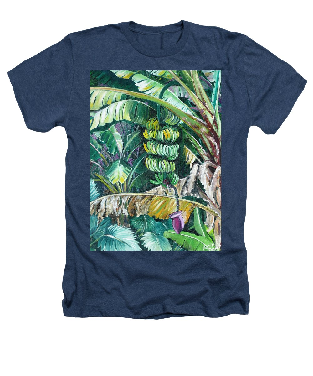 Caribbean Painting Bananas Trees P Painting Fruit Painting Tropical Painting Heathers T-Shirt featuring the painting Bananas by Karin Dawn Kelshall- Best
