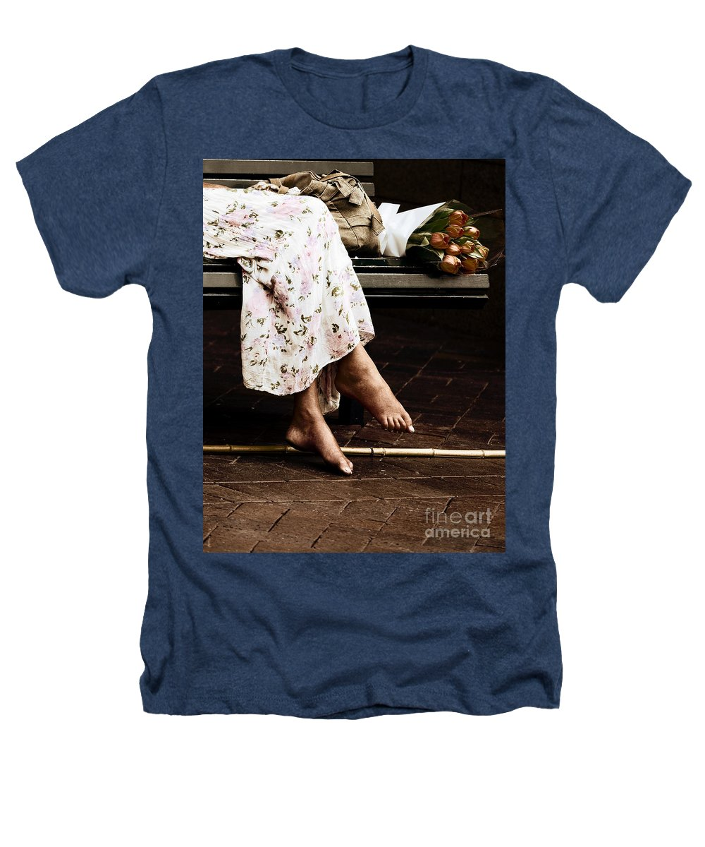 Barefeet Feet Barefoot Tulips Heathers T-Shirt featuring the photograph Barefoot And Tulips by Avalon Fine Art Photography