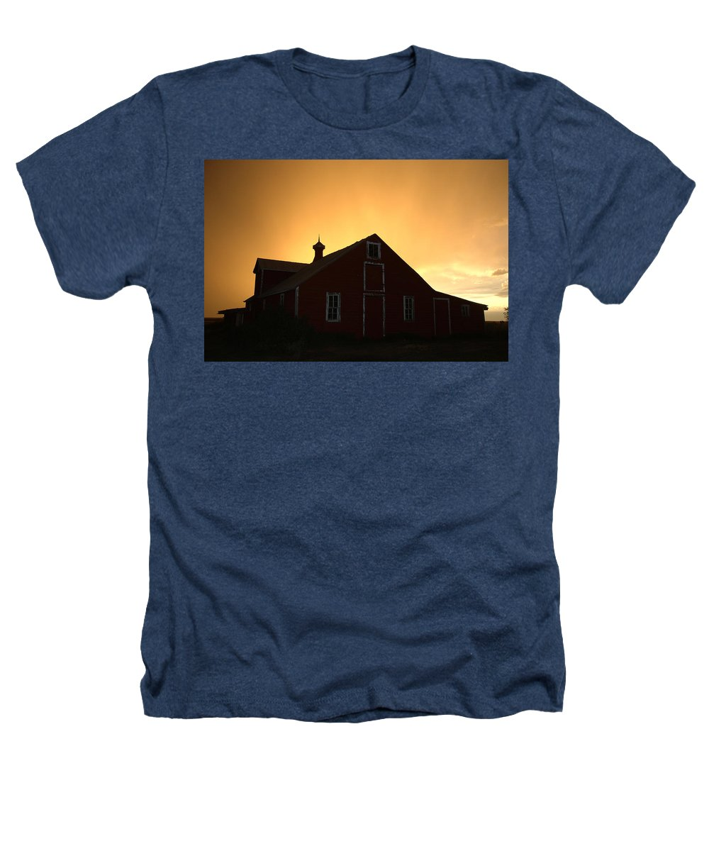 Barn Heathers T-Shirt featuring the photograph Barn At Sunset by Jerry McElroy
