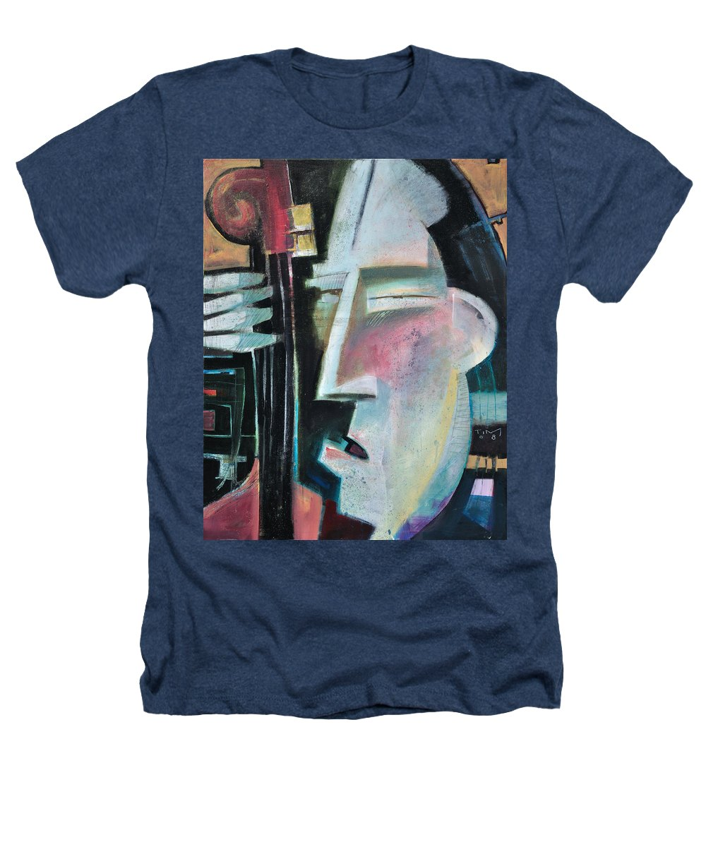 Jazz Heathers T-Shirt featuring the painting Bass Face by Tim Nyberg