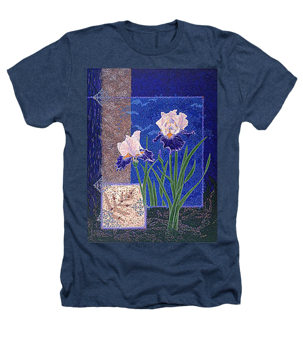 Irises Heathers T-Shirt featuring the painting Bearded Irises Fine Art Print Giclee Ladybug Path by Baslee Troutman