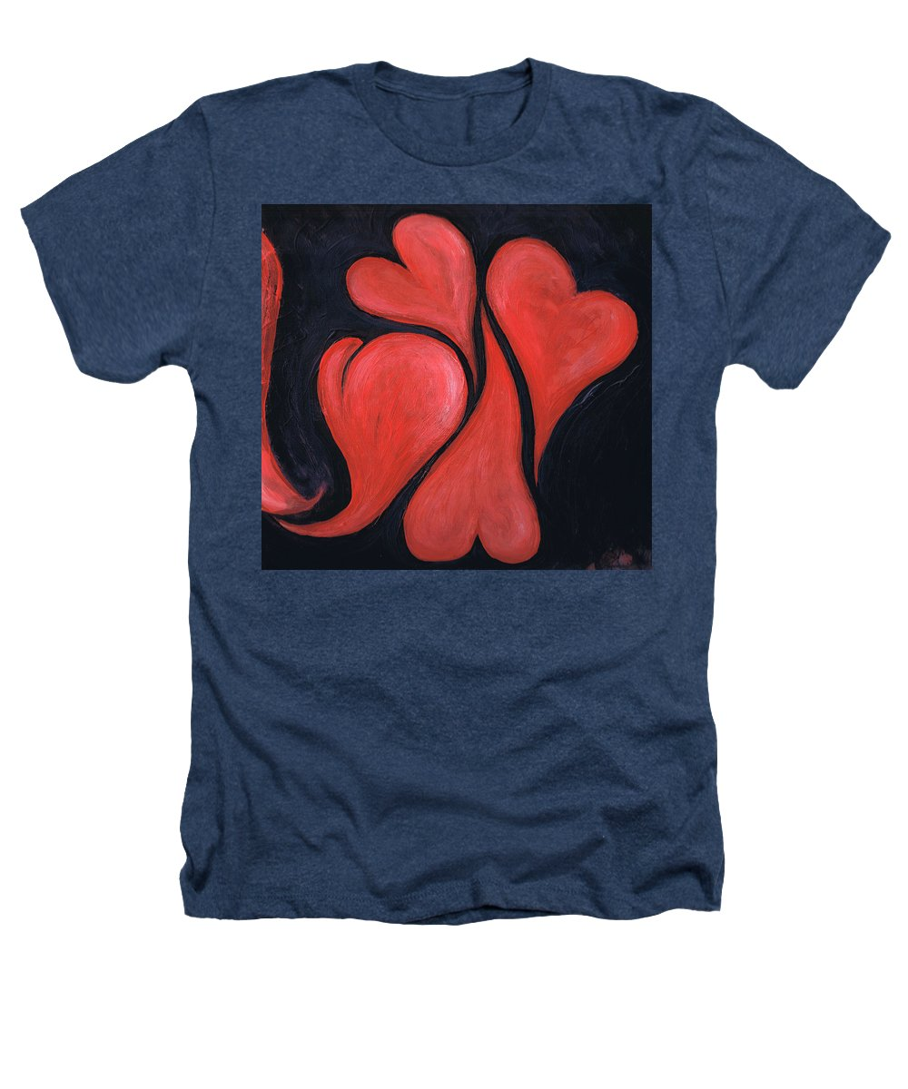 Hearts Heathers T-Shirt featuring the painting Beating Hearts by Nancy Mueller