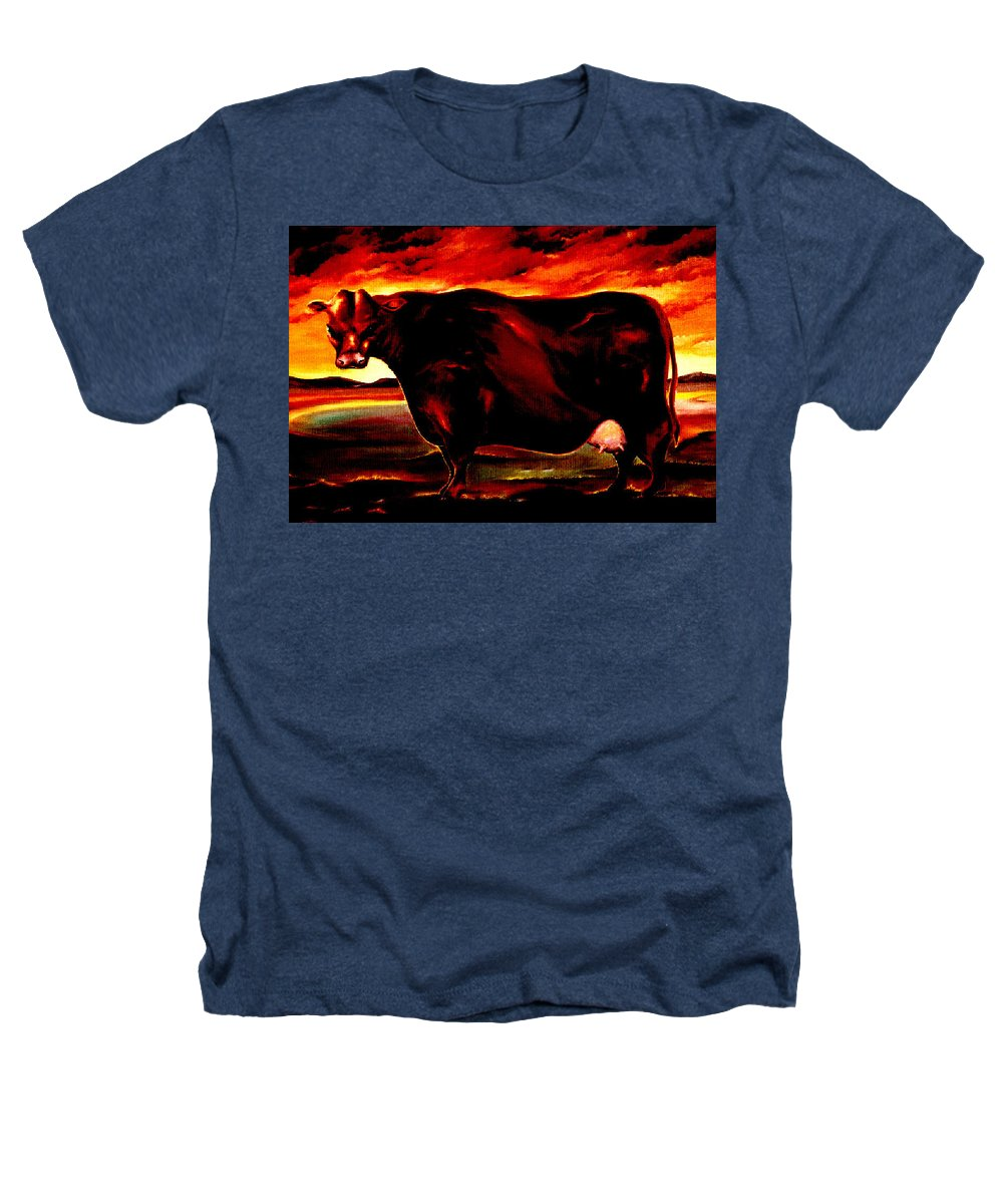 Farm Animal Heathers T-Shirt featuring the painting Beef Holocaust IIi by Mark Cawood