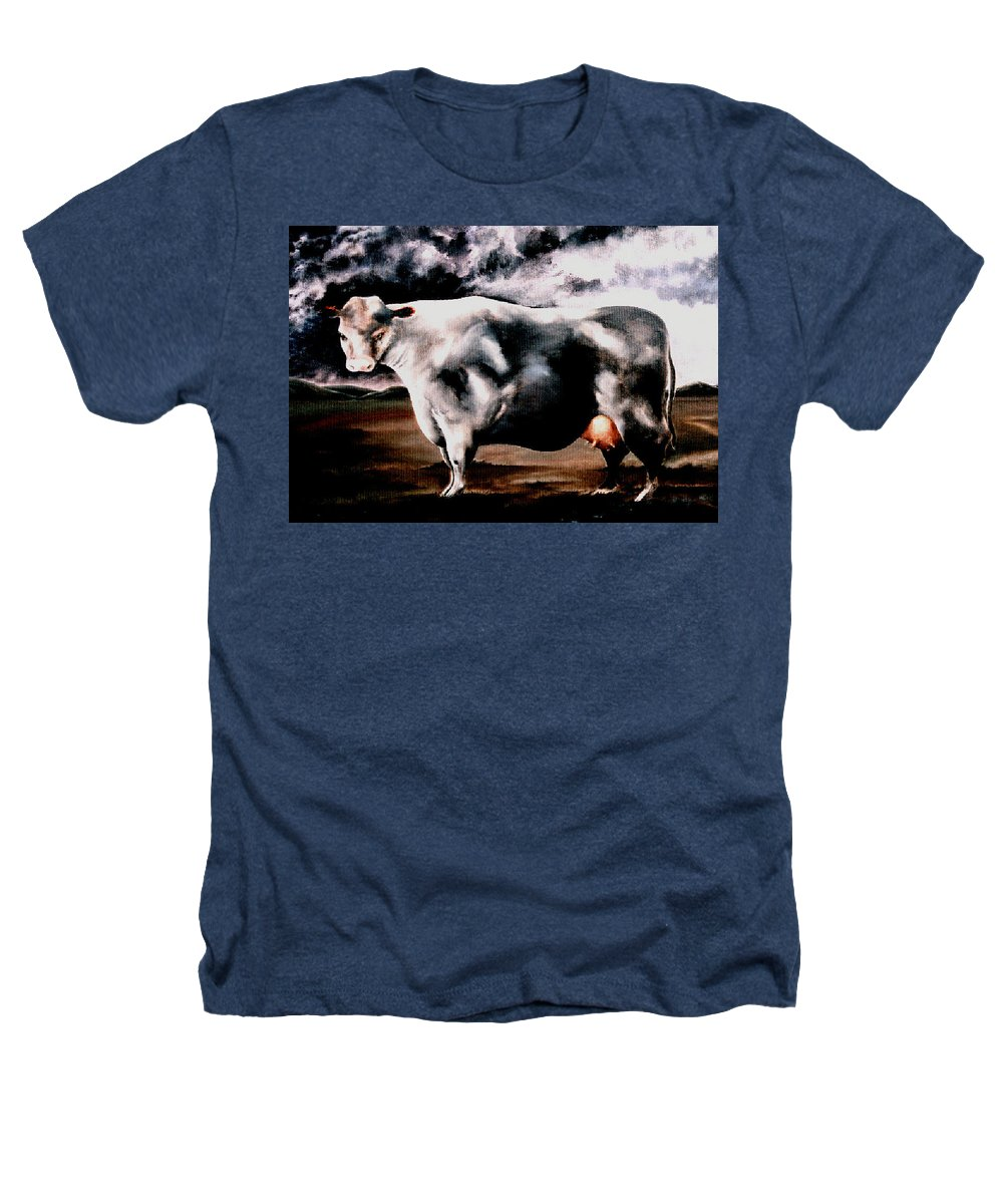 Cow Heathers T-Shirt featuring the painting Beef Holocaust Iv by Mark Cawood