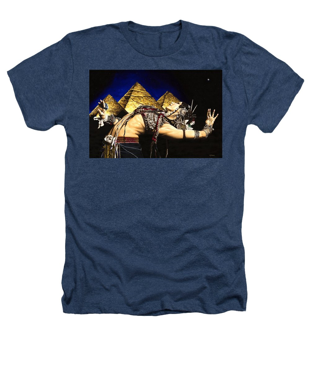 Bellydance Heathers T-Shirt featuring the painting Bellydance Of The Pyramids - Rachel Brice by Richard Young