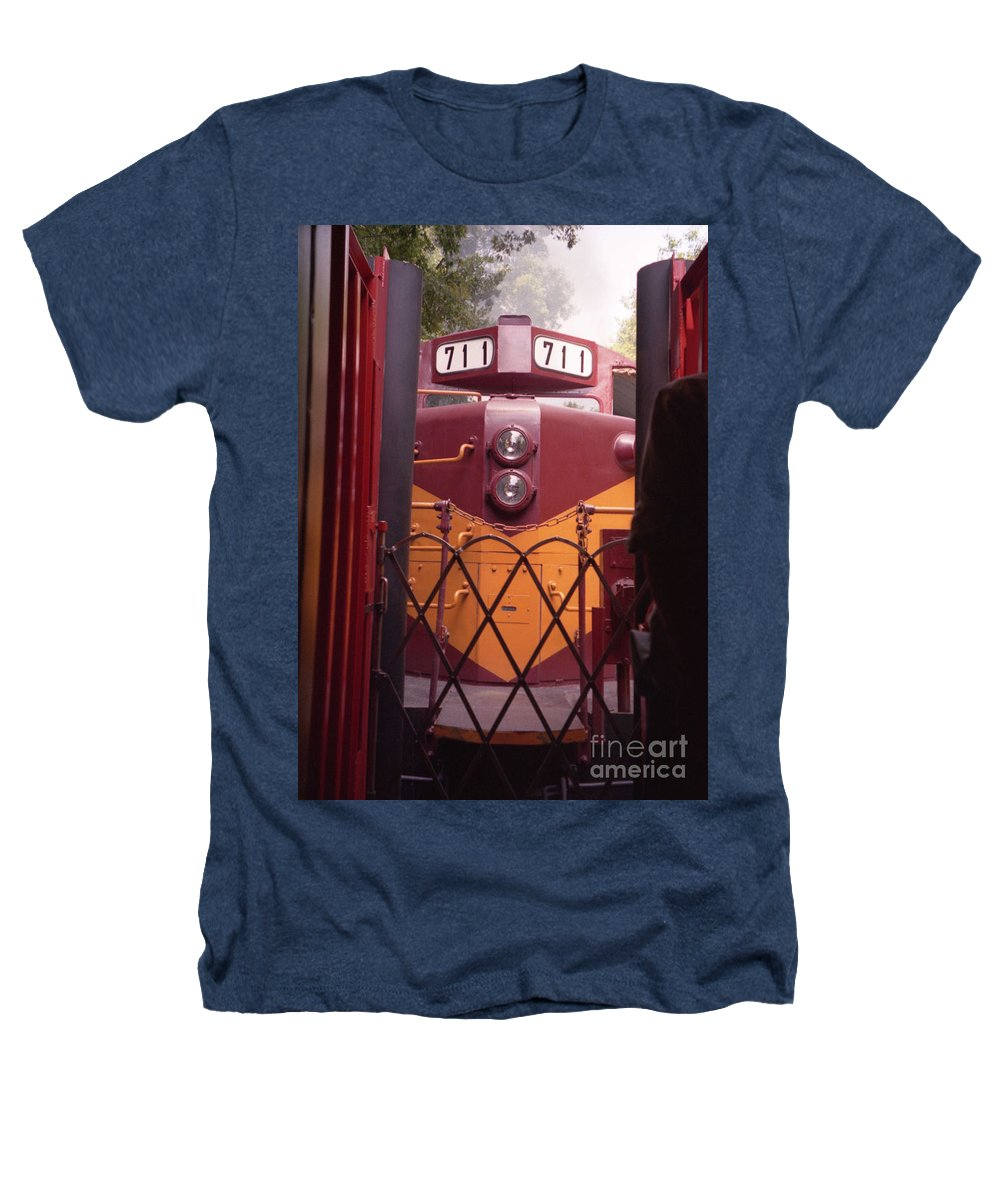 Trains Heathers T-Shirt featuring the photograph Big Red by Richard Rizzo