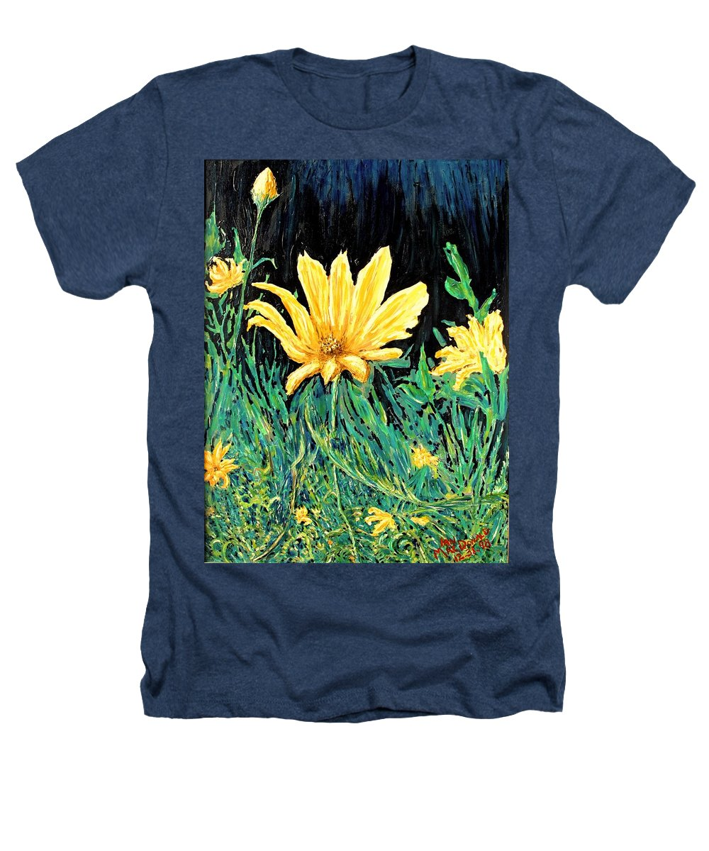 Flower Heathers T-Shirt featuring the painting Big Yellow by Ian MacDonald