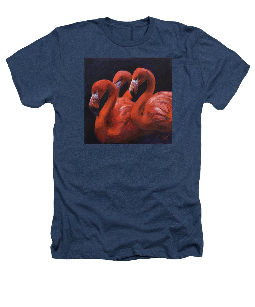 Flamingos Heathers T-Shirt featuring the painting Birds Of A Feather by Billie Colson