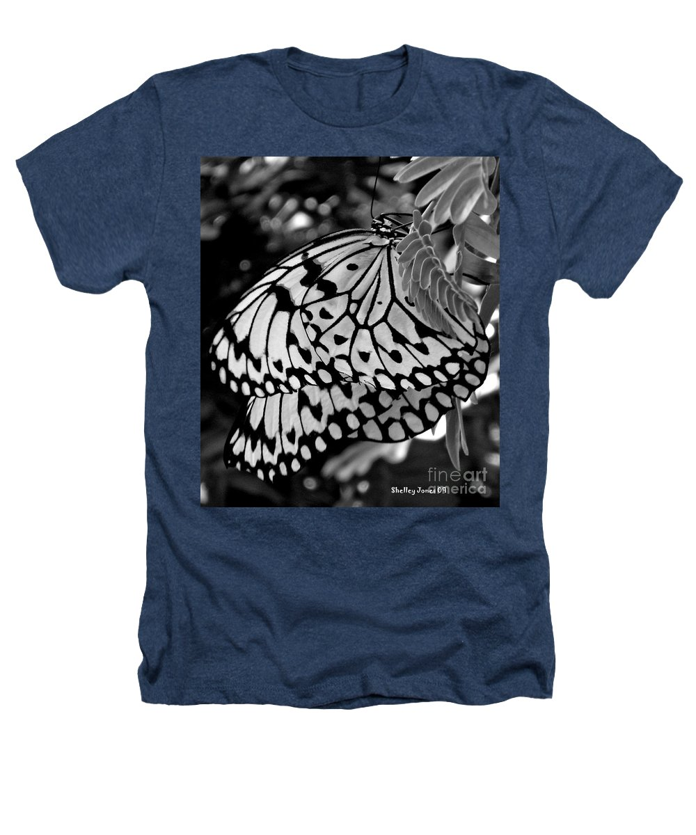 Photograph Heathers T-Shirt featuring the photograph Black And White Butterfly by Shelley Jones