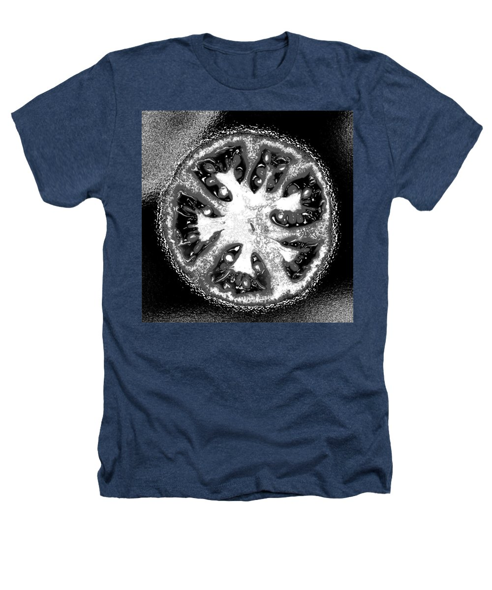 Tomato Heathers T-Shirt featuring the photograph Black And White Tomato by Nancy Mueller