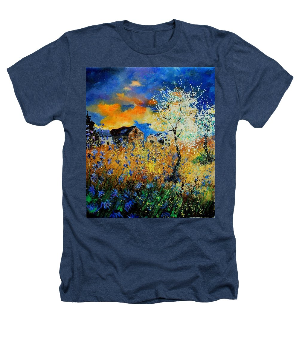 Poppies Heathers T-Shirt featuring the painting Blooming Trees by Pol Ledent