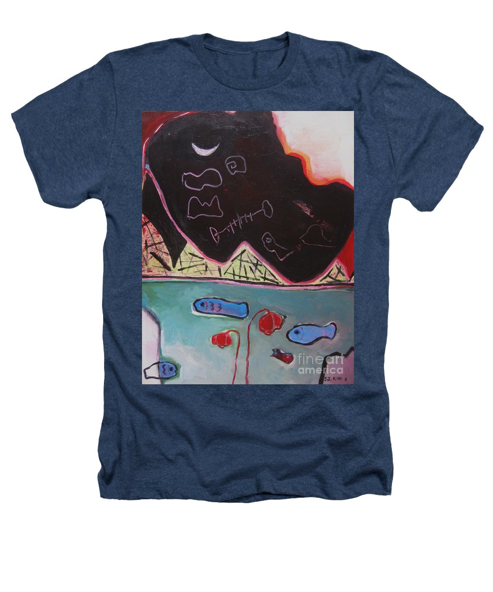 Blow Me Down Painting Heathers T-Shirt featuring the painting Blow Me Down11 by Seon-Jeong Kim