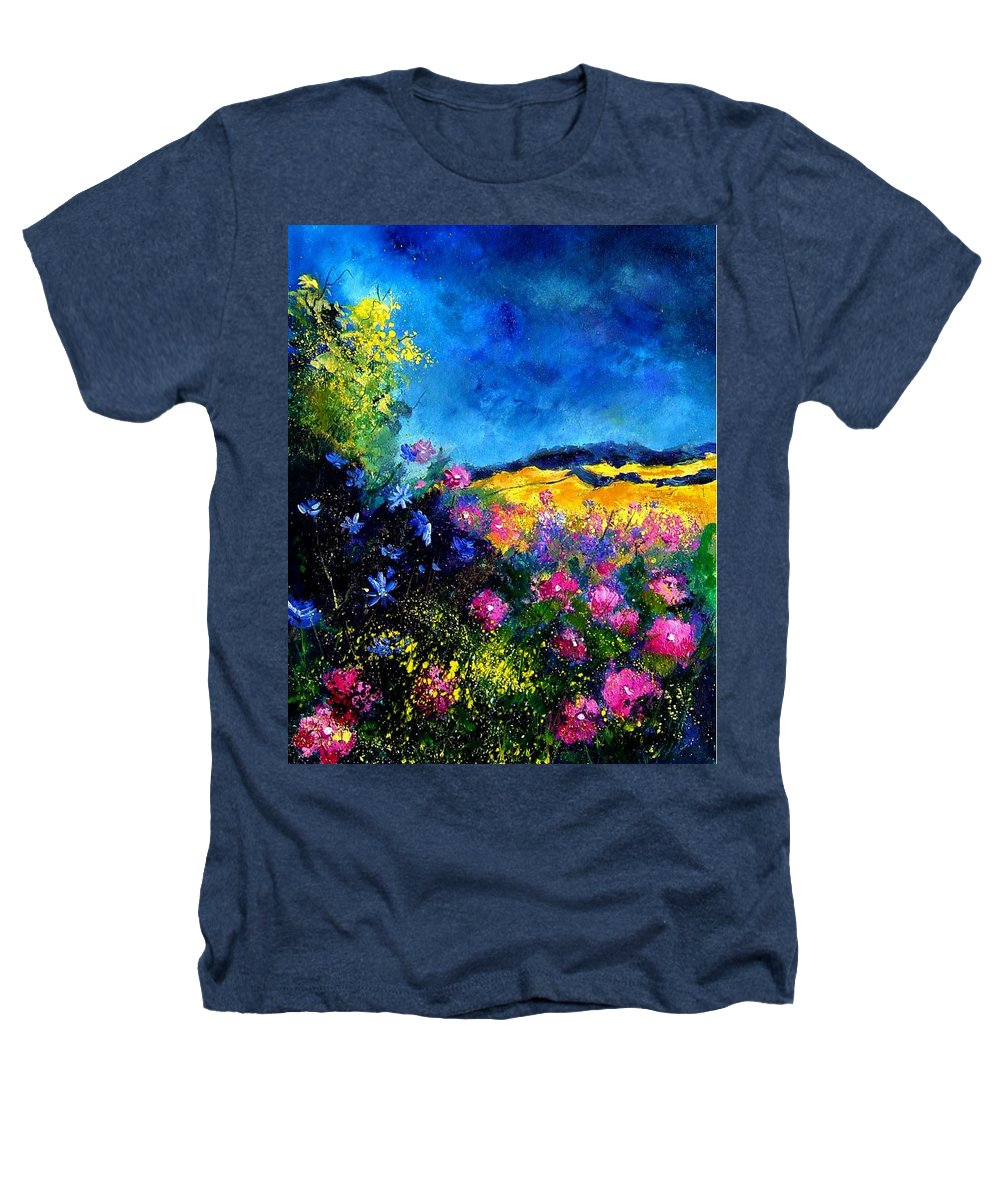 Landscape Heathers T-Shirt featuring the painting Blue And Pink Flowers by Pol Ledent