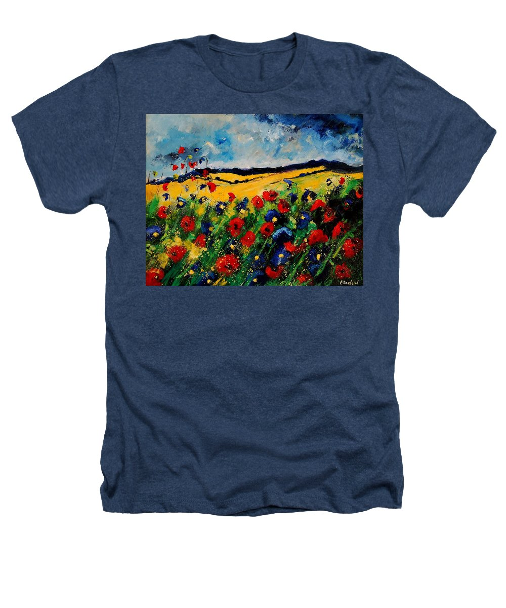 Poppies Heathers T-Shirt featuring the painting Blue And Red Poppies 45 by Pol Ledent