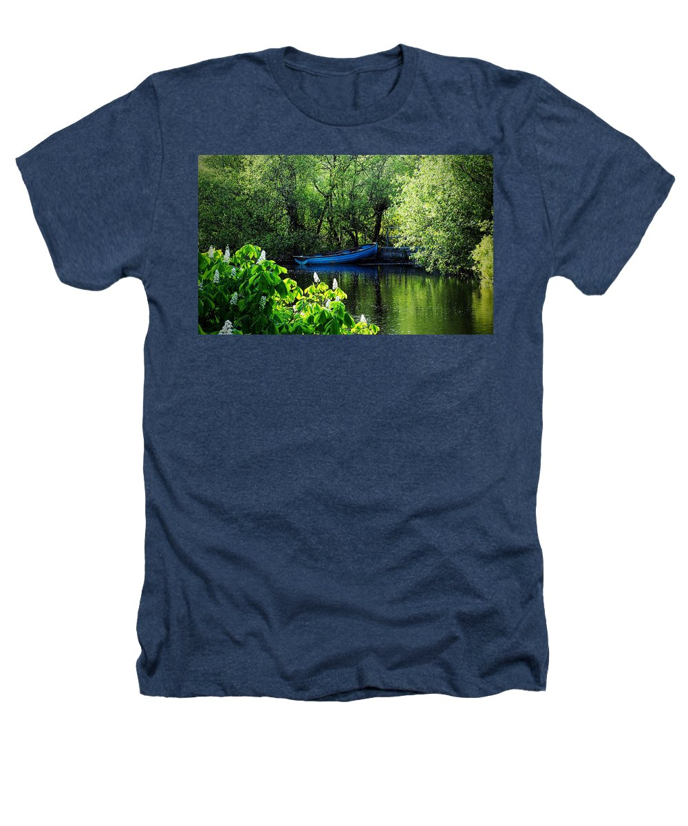 Irish Heathers T-Shirt featuring the photograph Blue Boat Cong Ireland by Teresa Mucha