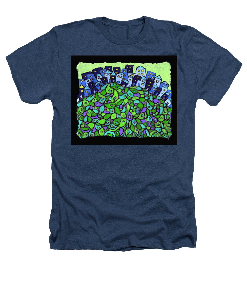 City Heathers T-Shirt featuring the painting Blue City On A Hill by Wayne Potrafka