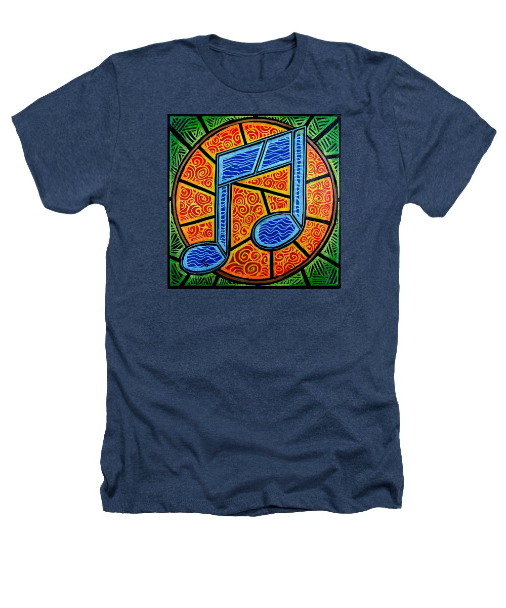 Music Heathers T-Shirt featuring the painting Blue Note On Red by Jim Harris