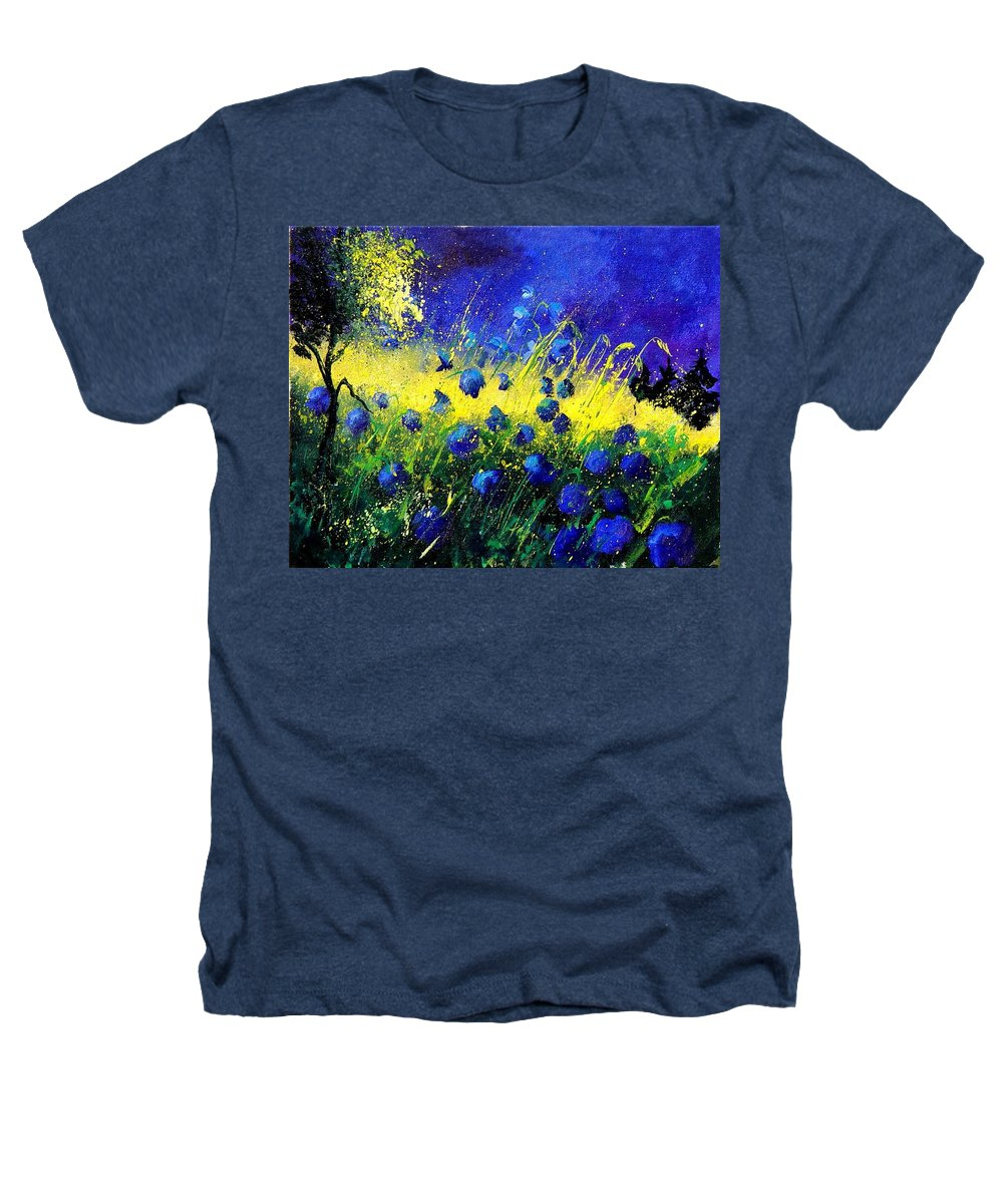 Flowers Heathers T-Shirt featuring the painting Blue Poppies by Pol Ledent