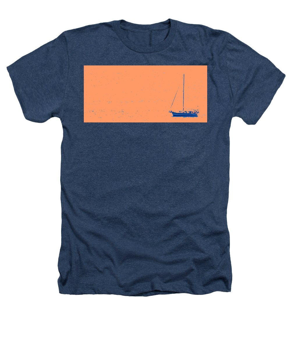 Boat Heathers T-Shirt featuring the photograph Boat On An Orange Sea by Ian MacDonald