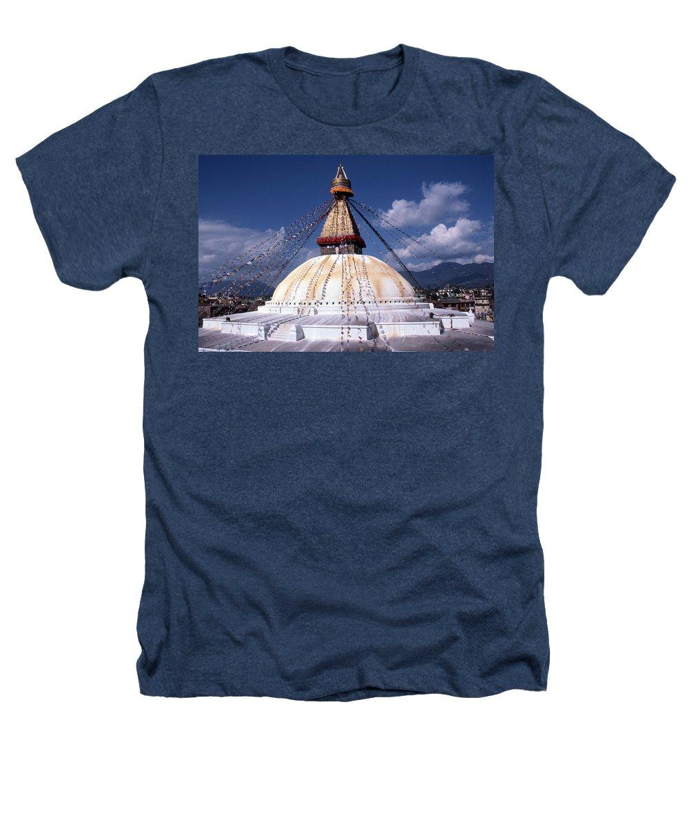 Bodhnath Stupa Heathers T-Shirt featuring the photograph Bodhnath Stupa by Patrick Klauss