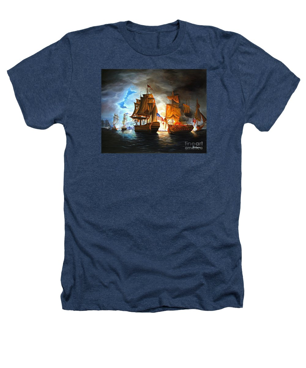 Naval Battle Heathers T-Shirt featuring the painting Bonhomme Richard Engaging The Serapis In Battle by Paul Walsh