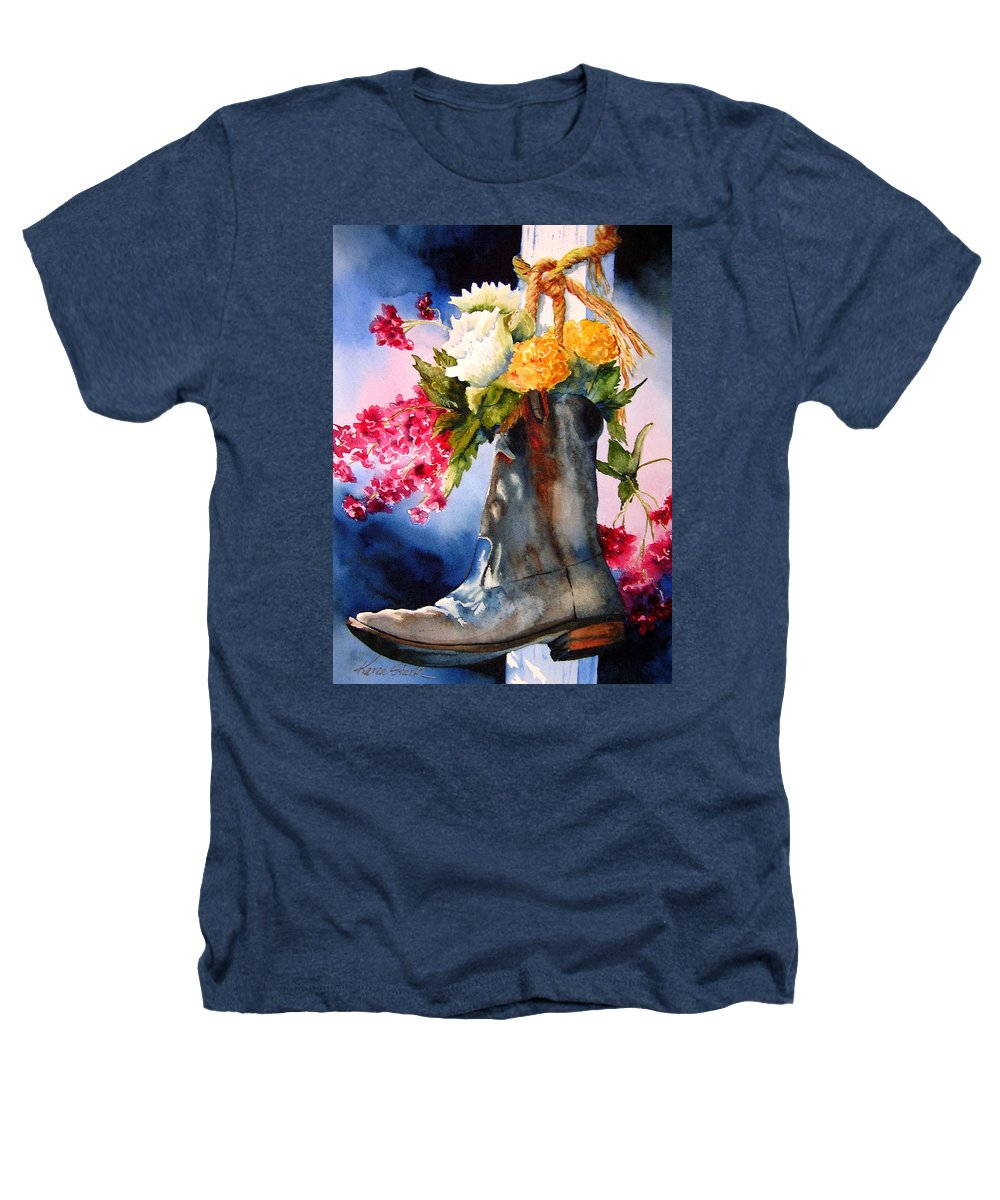 Cowboy Heathers T-Shirt featuring the painting Boot Bouquet by Karen Stark